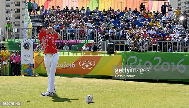 Justin Rose of England on the first tee during the third round of the Mens Individual Stroke Play event on Day 8 of the Rio 2016 Olympic Games at the...