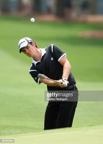 Justin Rose of England pitches to the first green during the first round of the 2008 Masters Tournament at Augusta National Golf Club on April 10...