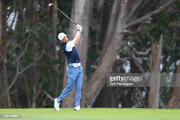 Justin Rose of England plays a shot during a practice round prior to the 2020 PGA Championship at TPC Harding Park on August 05 2020 in San Francisco...