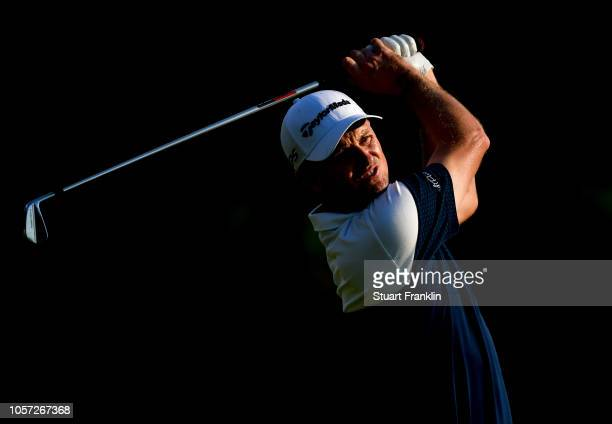 Justin Rose of England plays a shot during the final day of The Turkish Airlaines golf on November 4 2018 in Antalya Turkey