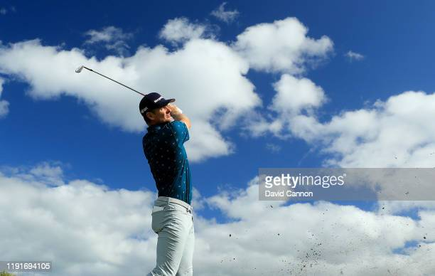 Justin Rose of England plays a shot during the pro-am as a preview for the 2019 Hero World Challenge at Albany on December 03, 2019 in Nassau,...