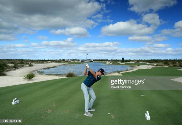 Justin Rose of England plays a shot during the proam as a preview for the 2019 Hero World Challenge at Albany on December 03 2019 in Nassau Bahamas