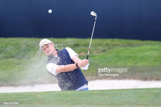 Justin Rose of England plays a shot from a bunker during a practice round prior to the 2020 PGA Championship at TPC Harding Park on August 05 2020 in...