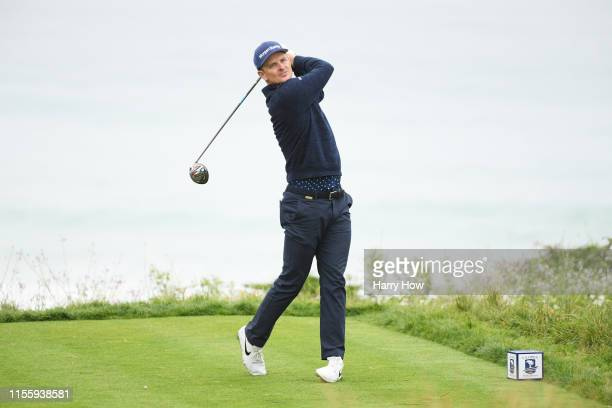 Justin Rose of England plays a shot from the 11th tee during the second round of the 2019 U.S. Open at Pebble Beach Golf Links on June 14, 2019 in...