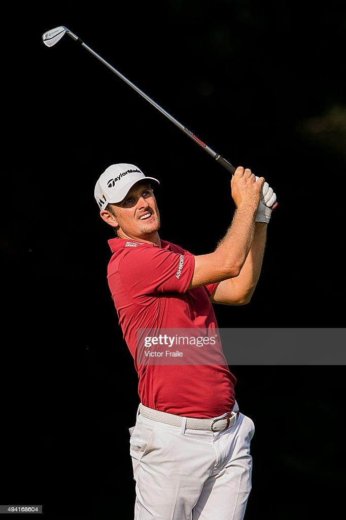 Justin Rose of England plays a shot on the 16th hole during the final round of the UBS Hong Kong Open at the Hong Kong Golf Club on October 25, 2015 in Hong Kong, Hong Kong.