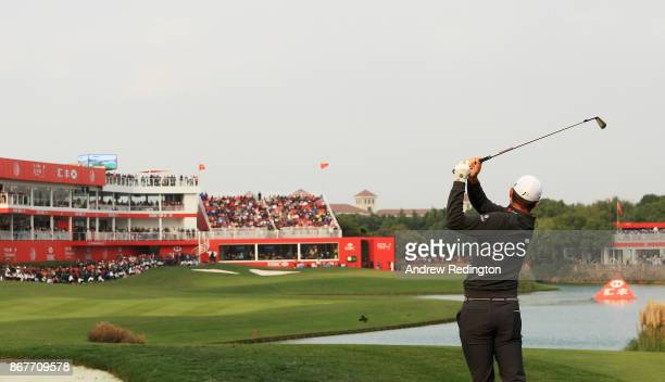 Justin Rose of England plays a shot on the 18th hole during the final round of the WGC HSBC Champions at Sheshan International Golf Club on October...
