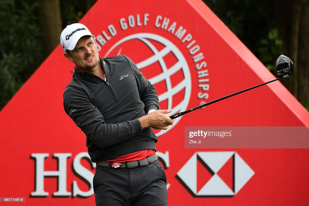 Justin Rose of England plays a shot on the 18th hole during the final round of the WGC - HSBC Champions at Sheshan International Golf Club on October 29, 2017 in Shanghai, China.