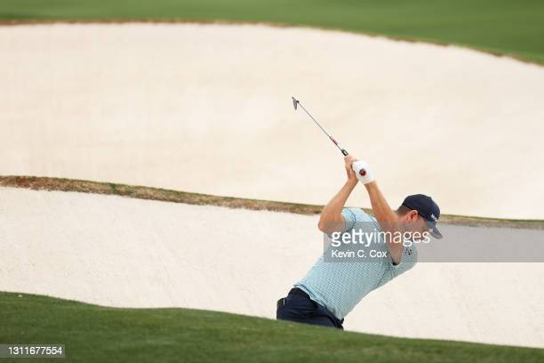 Justin Rose of England plays a shot on the 18th hole during the second round of the Masters at Augusta National Golf Club on April 09, 2021 in...