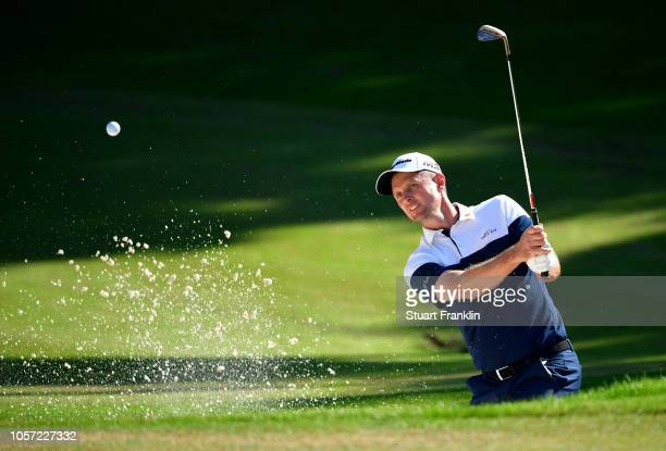 Justin Rose of England plays a shot out of the bunker during Day Four of the Turkish Airlines Open at Regnum Carya Golf Spa Resort on November 4 2018...
