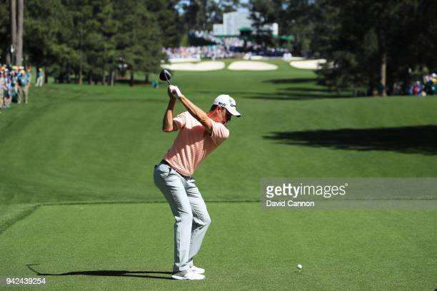 Justin Rose of England plays a tee shot on the seventh hole during the first round of the 2018 Masters Tournament at Augusta National Golf Club on...
