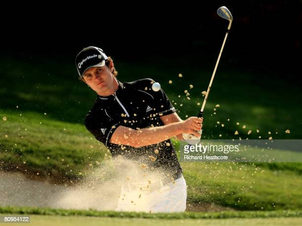 Justin Rose of England plays from a bunker on the 5th hole during the first round of the Wachovia Championship at Quail Hollow Country Club on May 1...