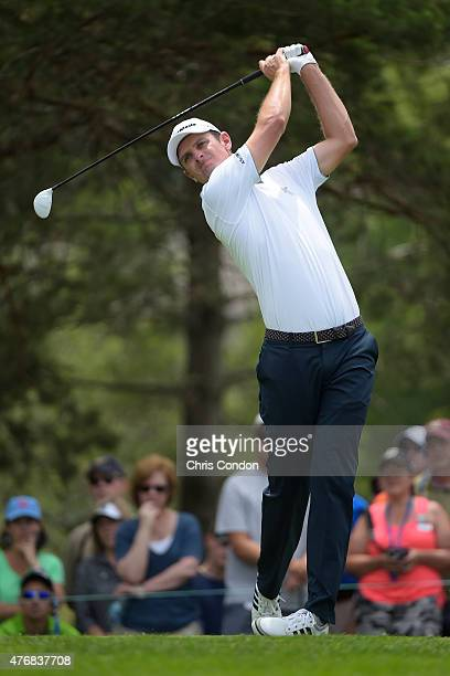 Justin Rose of England plays from the second tee during the final round of the Memorial Tournament presented by Nationwide at Muirfield Village Golf...