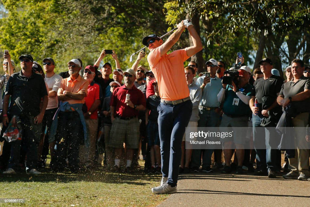 Justin Rose of England plays his second shot on the 16th hole during the second round of the Valspar Championship at Innisbrook Resort Copperhead Course on March 9, 2018 in Palm Harbor, Florida.