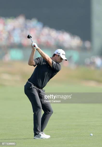 Justin Rose of England plays his second shot on the 16th hole during the final round of the 2018 US Open at Shinnecock Hills Golf Club on June 17,...