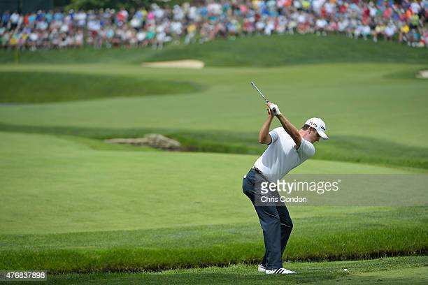Justin Rose of England plays his second shot on the fifth hole during the final round of the Memorial Tournament presented by Nationwide at Muirfield...