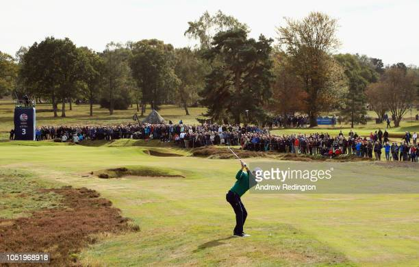 Justin Rose of England plays his second shot on the third hole on Day Two of the Sky Sports British Masters at Walton Heath Golf Club on October 12...