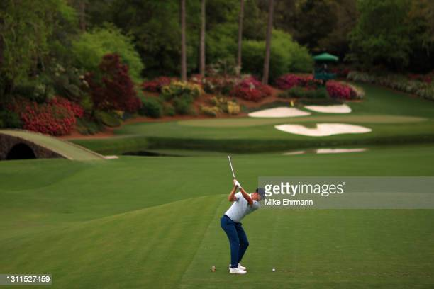 Justin Rose of England plays his shot from the 12th tee during the first round of the Masters at Augusta National Golf Club on April 08, 2021 in...