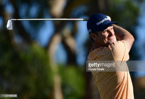 Justin Rose of England plays his shot from the 16th tee on the South Course during the final round of the the 2019 Farmers Insurance Open at Torrey...