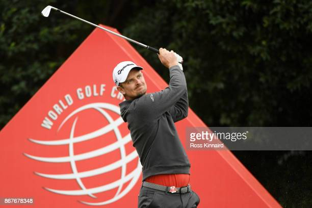 Justin Rose of England plays his shot from the 17th tee during the final round of the WGC HSBC Champions at Sheshan International Golf Club on...