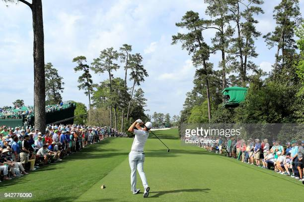 Justin Rose of England plays his shot from the 18th tee during the second round of the 2018 Masters Tournament at Augusta National Golf Club on April...