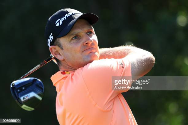 Justin Rose of England plays his shot from the fifth tee during round two of the Abu Dhabi HSBC Golf Championship at Abu Dhabi Golf Club on January...