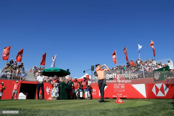 Justin Rose of England plays his shot from the first tee during round two of the Abu Dhabi HSBC Golf Championship at Abu Dhabi Golf Club on January...