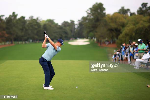 Justin Rose of England plays his shot from the first tee during the second round of the Masters at Augusta National Golf Club on April 09, 2021 in...