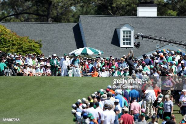 Justin Rose of England plays his shot from the first tee during the final round of the 2017 Masters Tournament at Augusta National Golf Club on April...