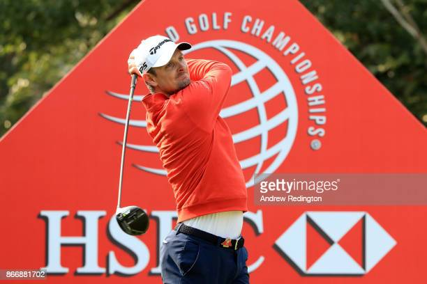 Justin Rose of England plays his shot from the first tee during the second round of the WGC - HSBC Champions at Sheshan International Golf Club on...
