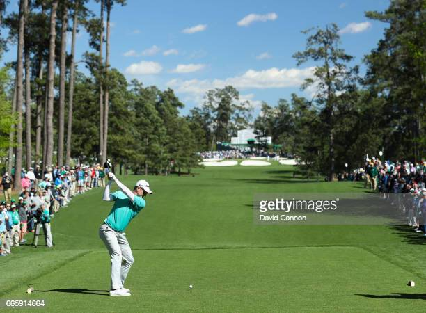 Justin Rose of England plays his shot from the seventh tee during the second round of the 2017 Masters Tournament at Augusta National Golf Club on...