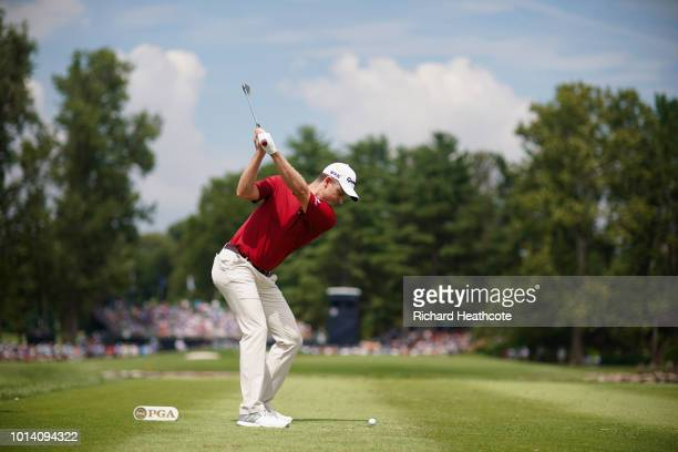Justin Rose of England plays his shot from the third tee during the first round of the 2018 PGA Championship at Bellerive Country Club on August 9...