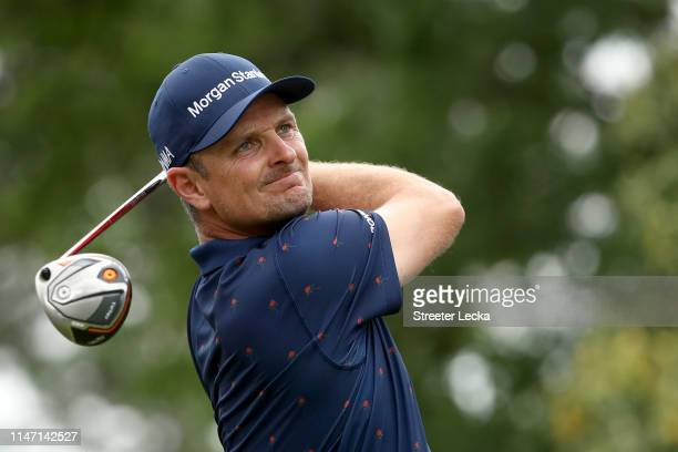 Justin Rose of England plays his shot from the third tee during the final round of the 2019 Wells Fargo Championship at Quail Hollow Club on May 05...