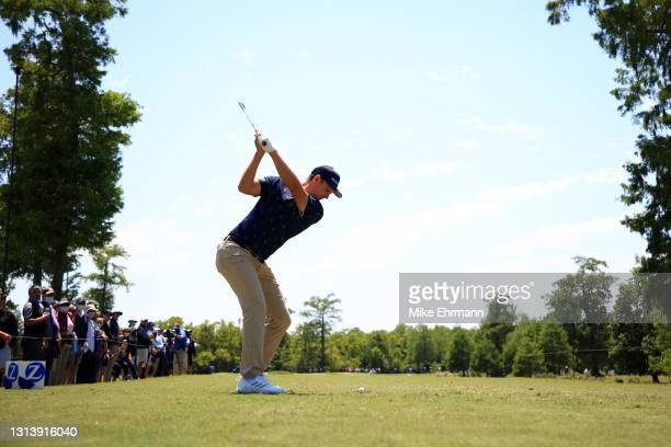 Justin Rose of England plays his shot from the third tee during the first round of the Zurich Classic of New Orleans at TPC Louisiana on April 22,...