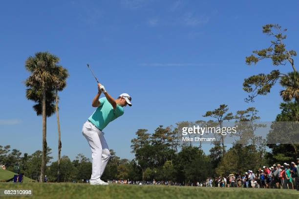 Justin Rose of England plays his shot from the third tee during the second round of THE PLAYERS Championship at the Stadium course at TPC Sawgrass on...