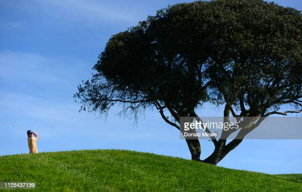 Justin Rose of England plays his shot from the third tee on the South Course during the final round of the the 2019 Farmers Insurance Open at Torrey...