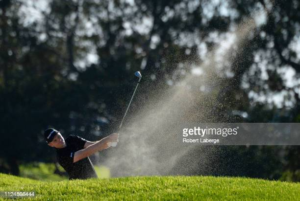 Justin Rose of England plays his shot on the 14th hole on the South Course during the second round of the the 2019 Farmers Insurance Open at Torrey...