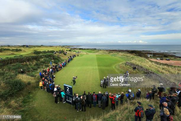 Justin Rose of England plays his tee shot on the second hole during the second round of the Alfred Dunhill Links Championship at Kingsbarns Golf...