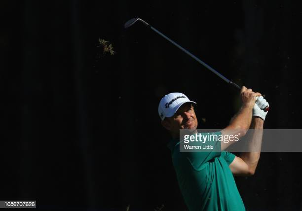 Justin Rose of England plays his third shot into the seventh green during the third round of the of the Turkish Airlines Open on November 3 2018 in...