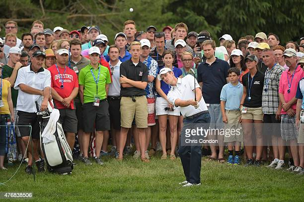Justin Rose of England plays his third shot on the 10th hole during the final round of the Memorial Tournament presented by Nationwide at Muirfield...