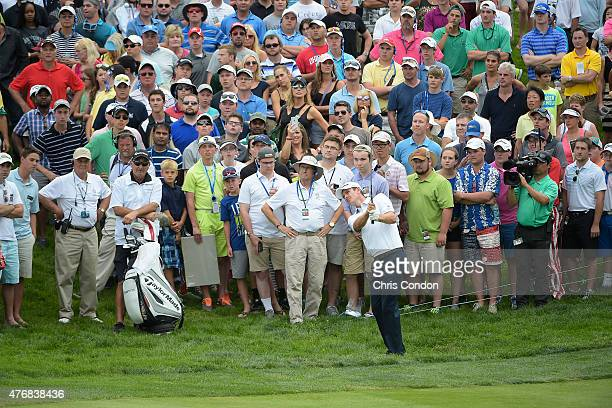 Justin Rose of England plays his third shot on the 18th hole during the final round of the Memorial Tournament presented by Nationwide at Muirfield...