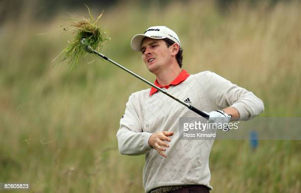 Justin Rose of England plays his third shot on the par five 2nd hole during the third round of The Johnnie Walker Championship at Gleneagles on...
