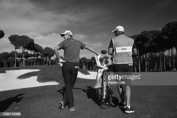 Justin Rose of England plays in the pro am ahead of the Turkish Airlines Open at the Regnum Carya Golf Spa Resort on October 31 2018 in Antalya Turkey