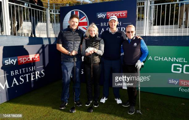 Justin Rose of England poses with his playing partners Barney Francis Keith Pelley and Sarah Stirk during the Hero ProAm at Walton Heath Golf Club on...