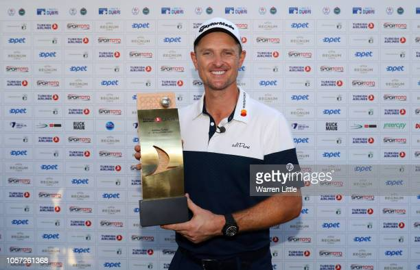 Justin Rose of England poses with the Trophy after he wins the final round during Day Four of the Turkish Airlines Open at Regnum Carya Golf Spa...