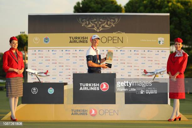 Justin Rose of England poses with the Trophy after he wins the final round during Day Four of the Turkish Airlines Open at Regnum Carya Golf & Spa...