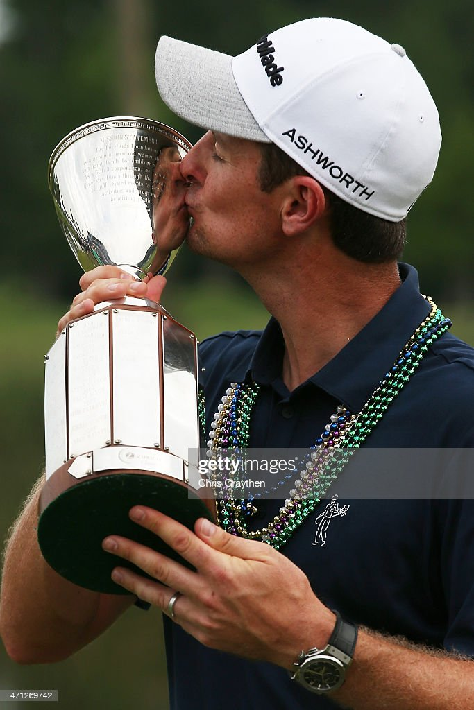 Justin Rose of England poses with the trophy after winning the Zurich Classic of New Orleans at TPC Louisiana on April 26, 2015 in Avondale, Louisiana.