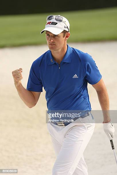 Justin Rose of England pumps his fist after making birdie on the 16th hole during the second round of the 2009 Masters Tournament at Augusta National...