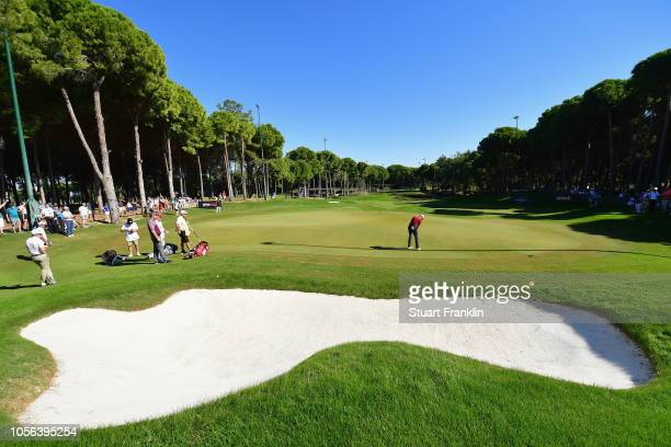 Justin Rose of England putts on the 8th hole during Day Two of the Turkish Airlines Open at the Regnum Carya Golf Spa Resort on November 2 2018 in...