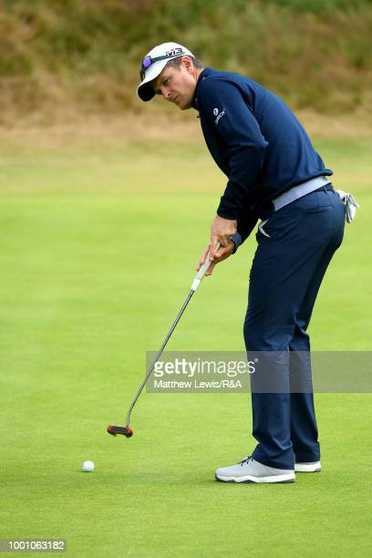 Justin Rose of England putts while playing in a practice round during previews to the 147th Open Championship at Carnoustie Golf Club on July 18 2018...