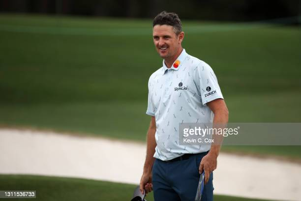 Justin Rose of England reacts on the 18th green during the first round of the Masters at Augusta National Golf Club on April 08, 2021 in Augusta,...